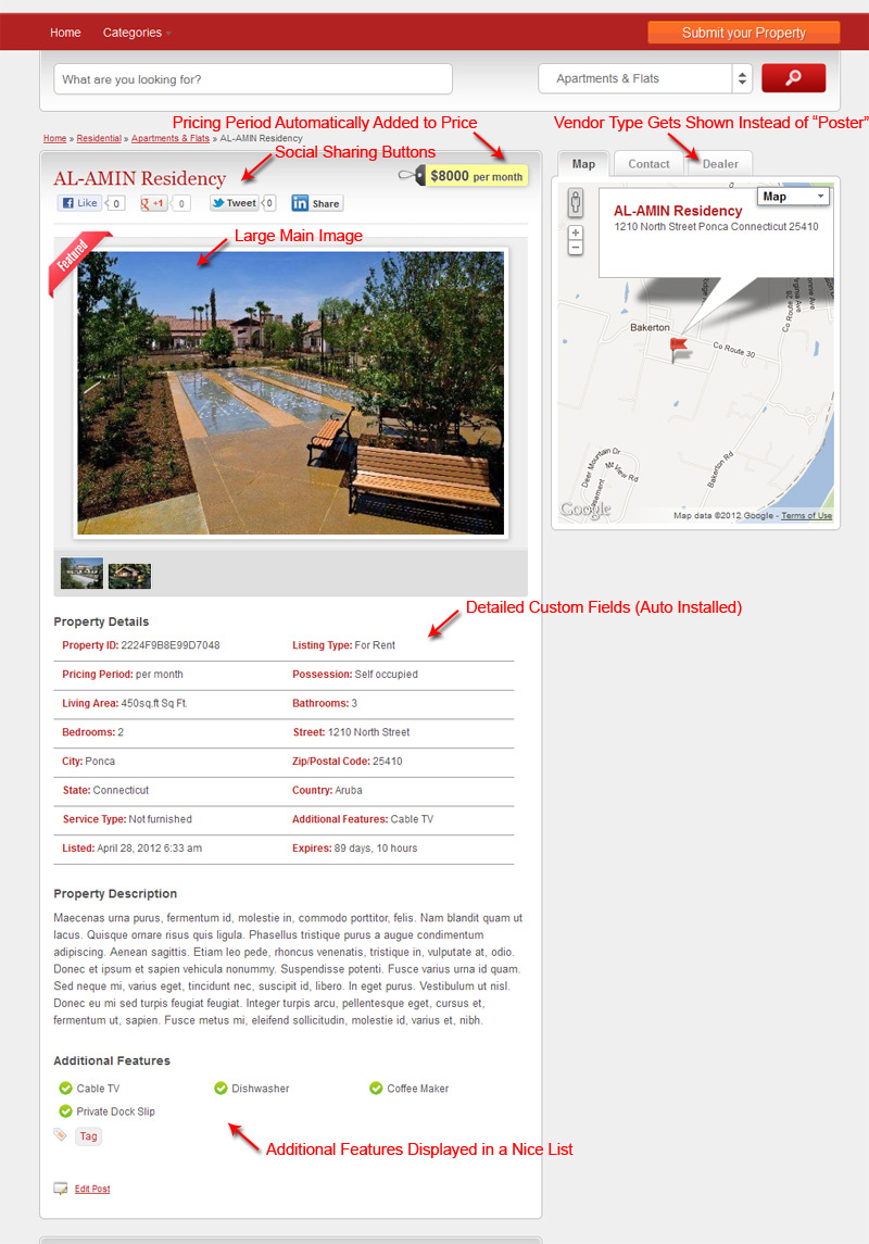 ClassiEstate Property Details Page