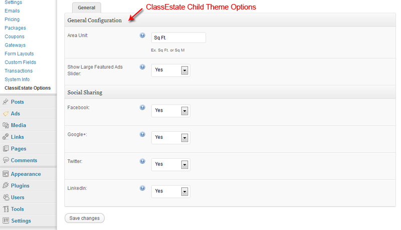 ClassiEstate Child Theme Options
