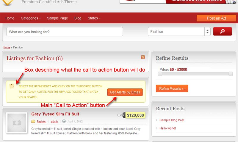"""Call to Action"" button with it's description"