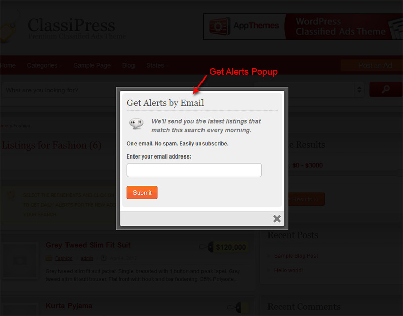 Get Alerts Popup with the customizable title, catch line, description and button