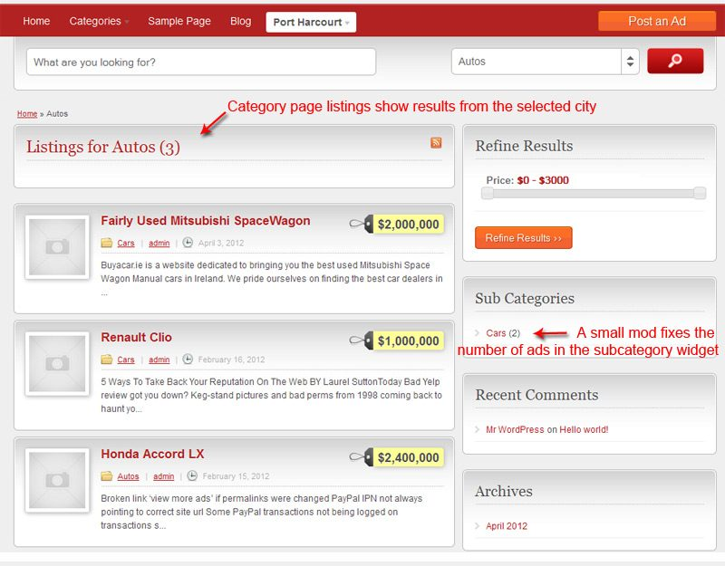 Ad category page showing results from the selected city