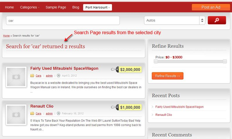 Search results page showing ads from the selected city