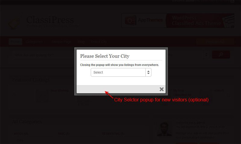 City selector popup for first time visitor which can be switched of from plugin settings