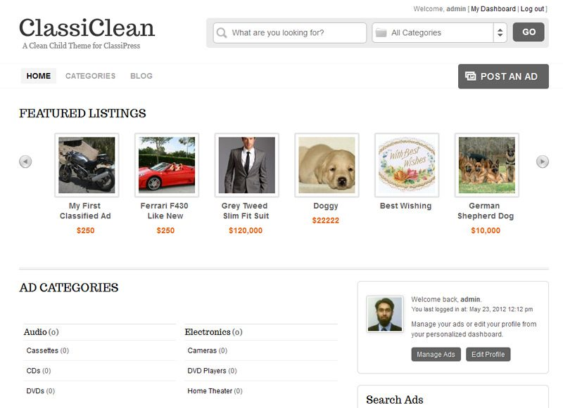 ClassiClean homepage