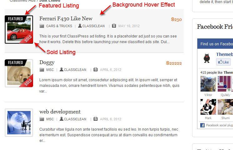 ClassiClean ad listing with hover effect and sold and featured tags