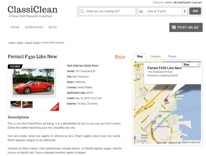 ClassiClean ad details page