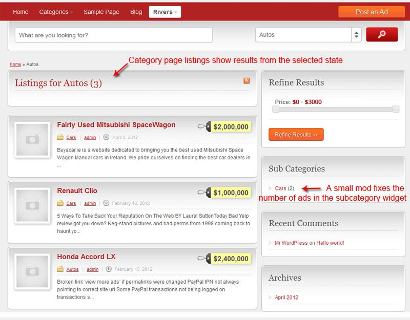 Ad category page showing results from the selected state