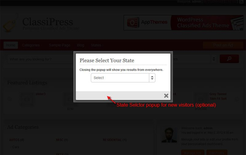 State selector popup for first time visitor which can be switched of from plugin settings