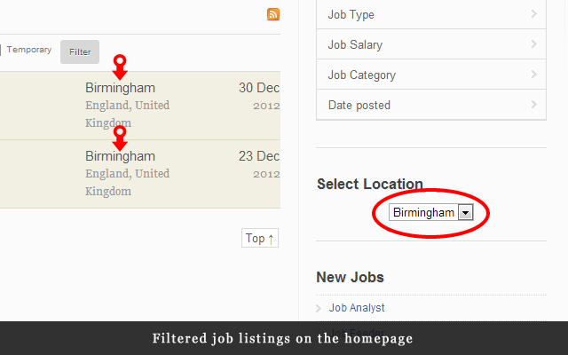 Filtered job listings on the homepage